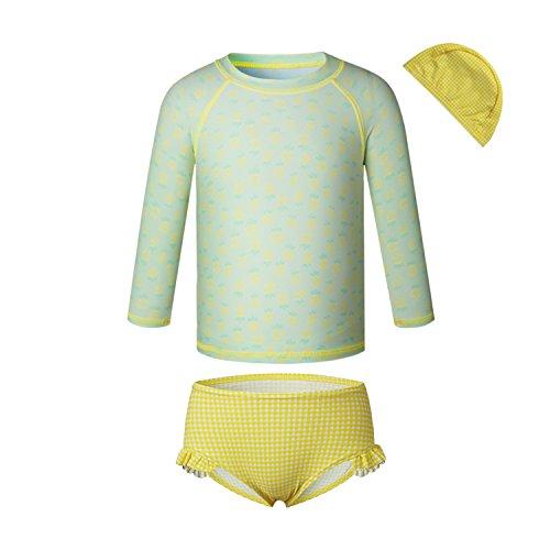 Price comparison product image Vivobiniya Little Girl Fashion Long Sleeve Swimsuits Kid Girl Bathing Suit Upf50+ (11(H54IN), Green)