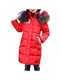 OCHENTA Kids Girls Winter Outerwear Jacket Warm with Hooded Overcoat Age of 2-10