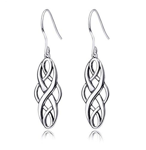 Althrorry Sterling Silver Irish Celtic Knot Dangle Earrings Good Luck Vintage Dangles Earrings for Women ()