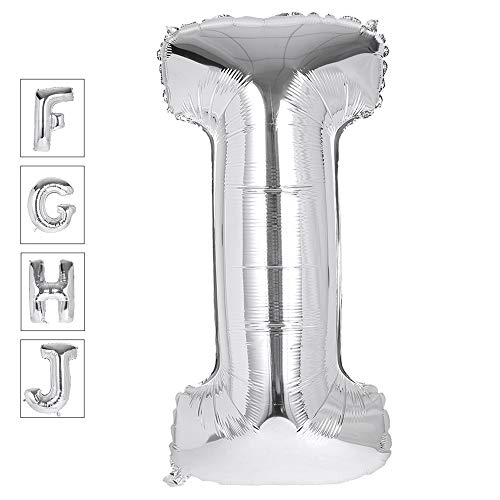 Lovne 40 Inch Silver Alphabet I Balloon Birthday Party Decorations Helium Foil Mylar Letter Balloons A to Z