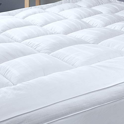 UPGRADED! 3-Inch Extra Thick Mattress Topper with 100% Cotton Cover, King Size, New & Improved Down Alternative Bed Topper Pillowtop for Optimum Cushioning & Support, Breathable
