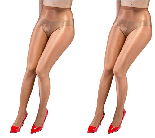 Kffyeye 70D Women's Control Top Thickness Plus Size Stockings Pantyhose, Ultra Shimmery Plus Footed Tights for Women (2pcs Gold -
