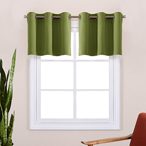 Window Valance Blackout Curtain Panels - Grommet Top Window Treatment Thermal Insulated Draperies for Living Room by NICETOWN (One Pair, 29