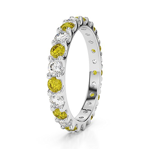 Or blanc 18 carats 0,67 CT G-H/VS sertie de diamants ronds Cut Saphir Jaune et éternité Bague Agdr-1105