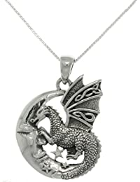 """Jewelry Trends Sterling Silver Moon and Dragon Celtic Knot Pendant on 18"""" Box Chain Necklace"""