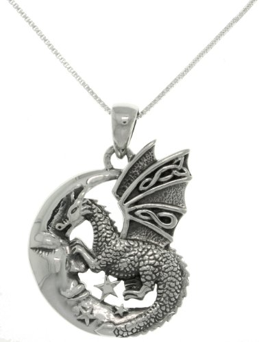 (Jewelry Trends Sterling Silver Moon and Dragon Celtic Knot Pendant on 18