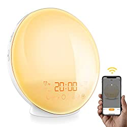 [APP Intelligent] Wake-Up Light Sunrise Sunset Simulation Alarm Clock, Bedside Night Light with 7 Colors Mood Atmosphere Lamp, Digital Clock, FM Radio, Dual Alarms, 7 Natural Sounds, for Bedroom