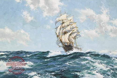 油絵/帆船/油彩画、自然、風景画、絵画/美術品 カフェ、ホテル、クラブ装飾品