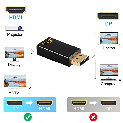 DP to HDMI Adapter, CableCreation 1080P Gold Plated Displayport to HDMI Converter Male to Female 1.3V Black