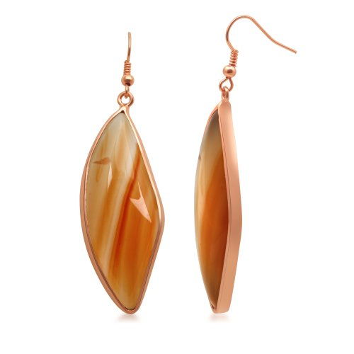 Jewelili Red Agate Earrings in 10KT Pink Gold Plated Brass