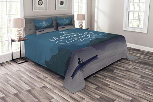 Ambesonne Adventure Awaits Bedspread Set Queen Size, Kayak in a Mountain Lake at Night Camping Activity Lifestyle, Decorative Quilted 3 Piece Coverlet Set with 2 Pillow Shams, Purple Grey