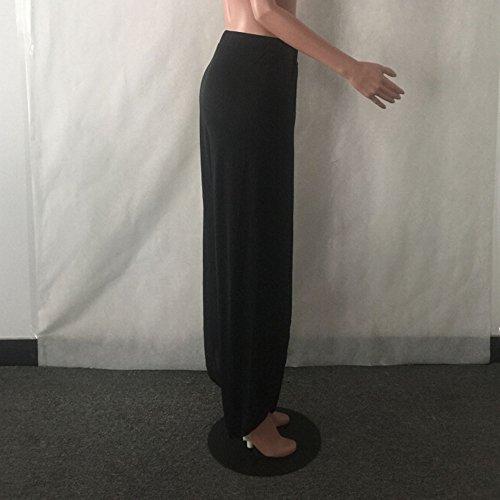 SKY Comfortable to wear it !!! Sra pantalones de yoga pantalones de pierna ancha Loose Pants Wide Leg Culottes Stretch Trouser Clothing Negro