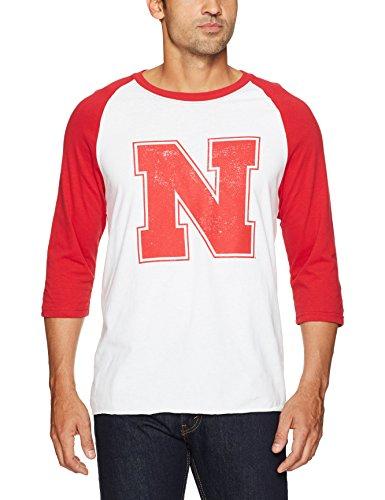 NCAA Nebraska Cornhuskers Men's Ots Rival Raglan Distressed Tee, Medium, White Wash