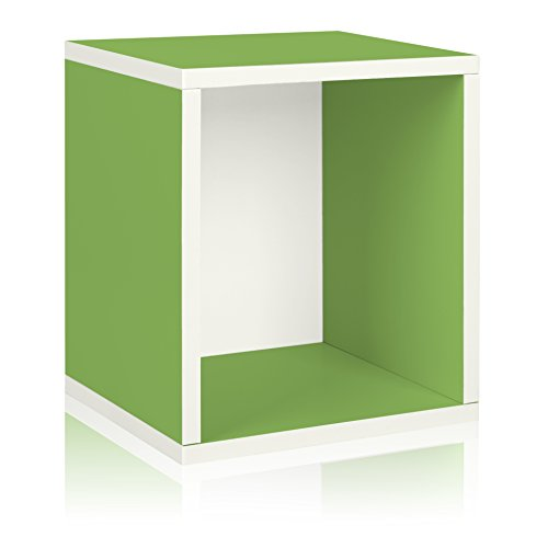 Way Basics Eco Stackable Storage Cube Plus and Cubby Organizer, Green (made from sustainable non-toxic zBoard (Basic Side Load Stackable)