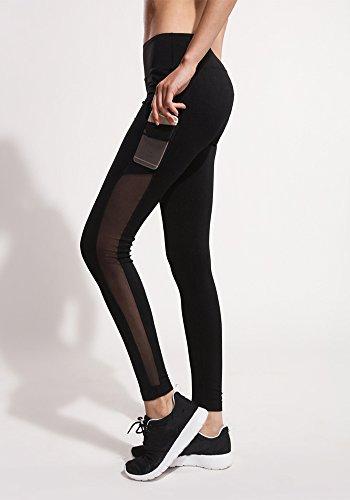 Leggings Mujer Leggins de Malla Deportivos Fitness Pantalones Con Un Bolsillo Negro One size Negro