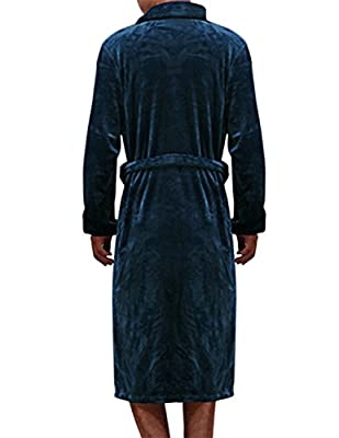Haseil Men's Plush Robe Shawl Collar Microfiber Fleece Spa Luxury Kimono Bathrobes