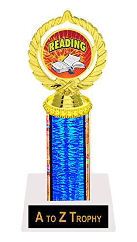"Reading Trophy Awards 9"" School Book Academic Trophies Free Engraving Color Choice"