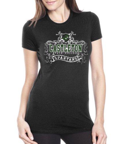 NCAA Castleton State Spartans Women's Prius2 Long Body Classic T-Shirt (Black, XX-Large)