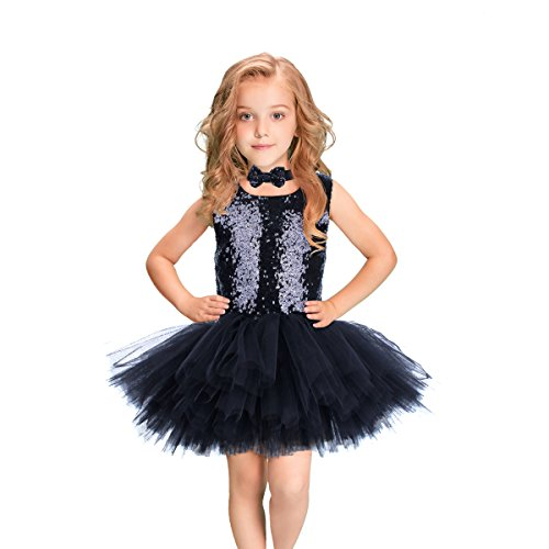 LEEGEEL Sequins Tutu Dress for Girls Handmade Tutu Dress Sleeveless Ballet Glitzy Dress with Bow Tie for Party, Dancing