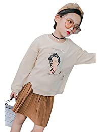 Buy-Box Girl's Short Skirt Two-Pieces Pleated Hem Ribbed Cuff Sweater Dress Set