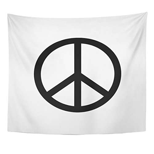 (TOMPOP Tapestry Black Peace Sign Drawing Symbol White 60S Antiwar Home Decor Wall Hanging for Living Room Bedroom Dorm 50x60 Inches)
