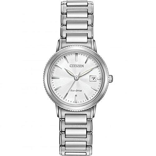 Citizen WR100 Reloj Mujer, Solar Reloj con Color Blanco Esfera analógica Pantalla y Plata Pulsera