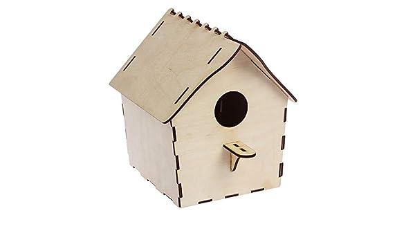 Red Cube Cubo Rojo Beige de Madera para casa de pájaros, Caja de Nido y decoración para el hogar al Aire Libre, alimentador para pájaros, petirrojo: Amazon.es: Jardín