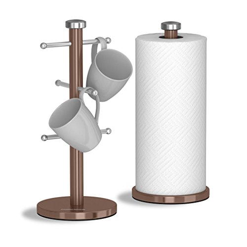 Morphy Richards Accents Kitchen Roll Holder and Mug Tree Set, Stainless Steel, Copper, 15 x 15 x 34.5 cm