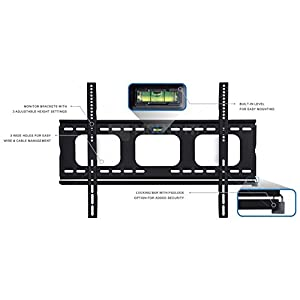 "Mount-It! Low-Profile TV Wall Mount 1"" Slim Fixed Bracket for 32, 40, 42, 48, 49, 50, 51, 52, 55, 60 inch TVs VESA Compatible up to 600 x 400"