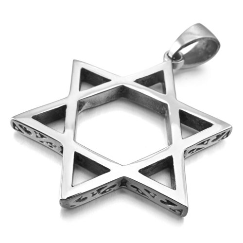 INBLUE Men's Stainless Steel Pendant Necklace Silver Tone Jewish Star Of David -With 23 Inch (Designer Star Of David Necklace)
