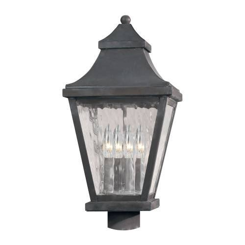 ELK 5703-C East Bay Street Water Glass 4-Light Outdoor Wall Lantern, 9-1/2 by 22-Inch, Charcoal Finish