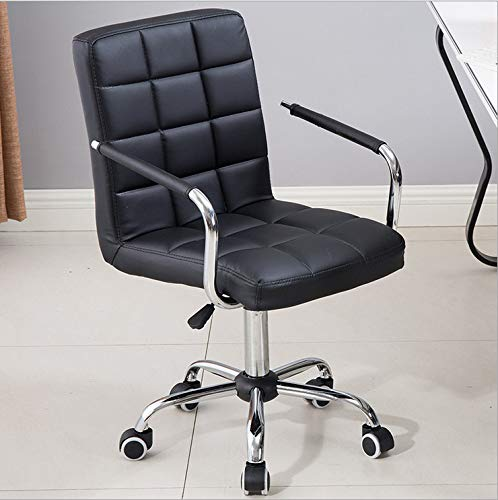 Office Work Chair Leather Task Swivel Chairs,BCDshop Mid-Back Ergonomic Adjustable Computer Desk Gaming Tool Executive Chair with Armrest (Black)