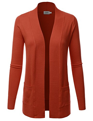 LALABEE Women's Open Front Pockets Knit Long Sleeve Sweater Cardigan-Rust-XL