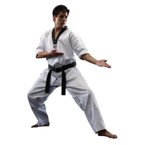 - Macho 8.5oz Taekwondo Classic V-Neck Uniform - White/Black - Size 6