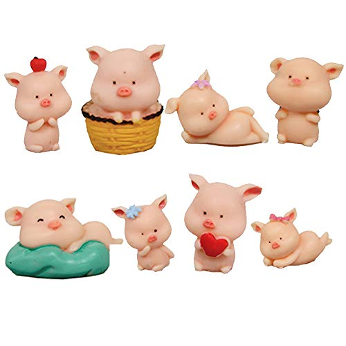 TangTanger 8 pcs (1 set) Kawaii Animal Pig Characters Toys Mini Figure Collection Playset, Cake Topper, Plant, Automobile decoration