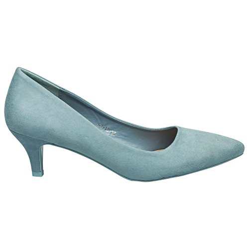 Slip Suede Miranda Womens ByPublicDemand Pointed Toe Low Blue On Heel Court Kitten Faux Shoes TUfqXW4f