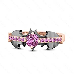Beeta Jewelry 18K Rose & Black Gold Finish Alloy Round Cut Pink Sapphire Superhero Batman Wedding Ring