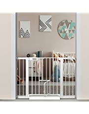 Fairy Baby White Extra Wide or Narrow Baby Gate Pressure Mounted Pet Gate Walk Thru Child Safety Gate with Extensions