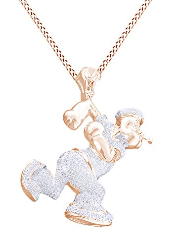Simulated White Cubic Zirconia Men's Hip Hop Popeye Pendant In 14k Rose Gold Over Sterling Silver by AFFY