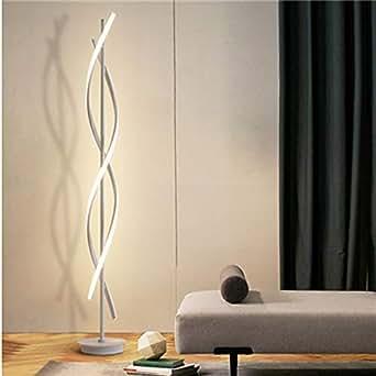 Blanco Espiral Lámparas de Pie - ELINKUME Regulable LED Lámpara de Iluminación Interior 30W Regulable LED Ahorro de Energia Lámpara de la Sala/Luz de ...