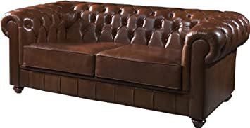 Canapé club Chesterfield cuir basane clouté chocolat: Amazon ...
