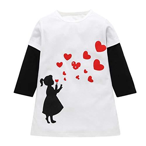 Diamondo Baby Girls Fake 2 Costumes Love Print Long Sleeve Dress Kids Clothes (5-6T)