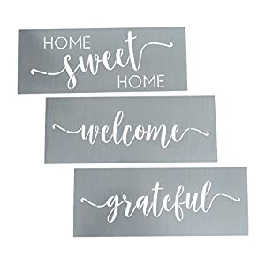 Home Sweet Home, Grateful, Welcome Stencil Set - Wording Stencils for Wood + More – Set of 3 Reusable Script Stencils – Easy DIY Wall Décor/Sign Stencils