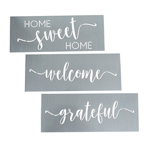 - Home Sweet Home, Grateful, Welcome Stencil Set - Word Stencils for Painting on Wood + More - Set of 3 Reusable Script Stencils - Sign Stencils Make Modern DIY Signs + DIY Wall Decor - Phrase Stencils