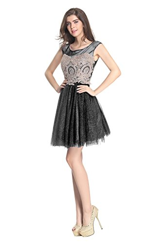 2016 Embroidery Kurz Gowns Heimkehr Damen Fanciest Black Abendkleider Kleider P6wnXRExq