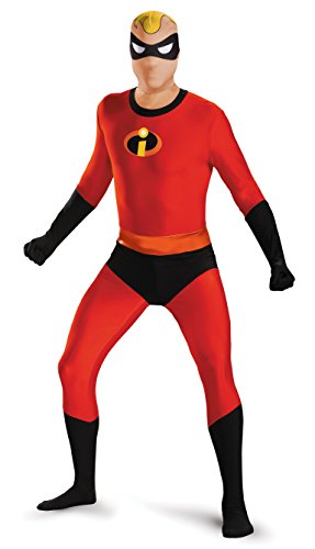 Disguise Men's Mr. Incredible Bodysuit Skinovation Costume, Red,