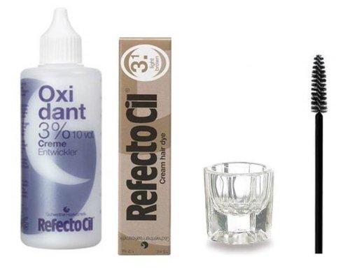 Refectocil KIT - Light Brown Cream Hair Dye + Creme Oxidant 3% 3.4oz + Mixing Dish + Mascara Brush
