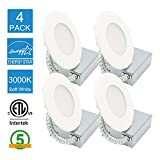4 Pack 4 Inch Ultra-thin Recessed Retrofit Kit Dimmable LED Light with Junction Box,11W (65W Replacement), 3000K Warm White,750 Lumen