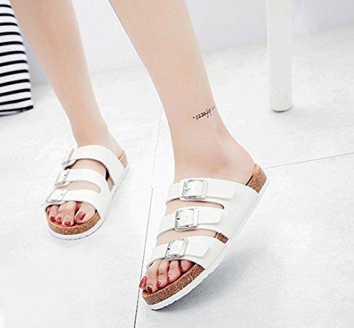 ZKOO Mujeres Sandalias de Ajustable Hebilla Footbed De Corcho Vendaje Zapatos Sandalias De Playa Zapatos Casual de Verano Blanco