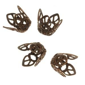 Conjunto de tiradores para Vintaj Natural latón 12 mm para troquel de manualidades con cuentas de diseño de filigrana de flores (4)